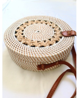 Bali Round White Braid Rattan Bag