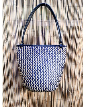 Bali Rattan and Leather Shoulder Bag
