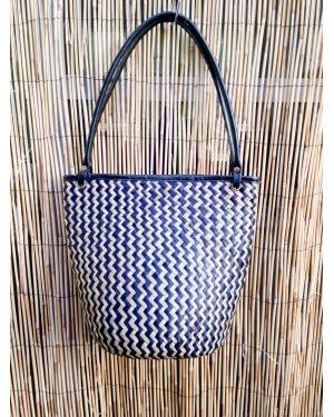 Bali Rattan and Leather Shoulder Bag