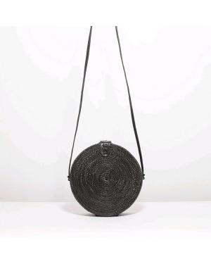 Bali Round Rattan Bag Black