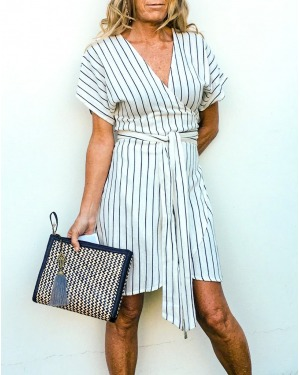 Black & White Striped Wrap Dress