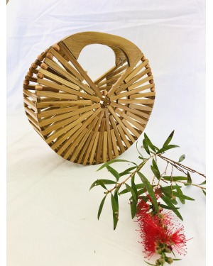 The Gili Bamboo Round Bag Small